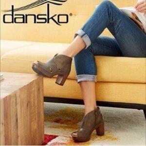 DANSKO Delphina Peep Toe Leather Bootie Size 37